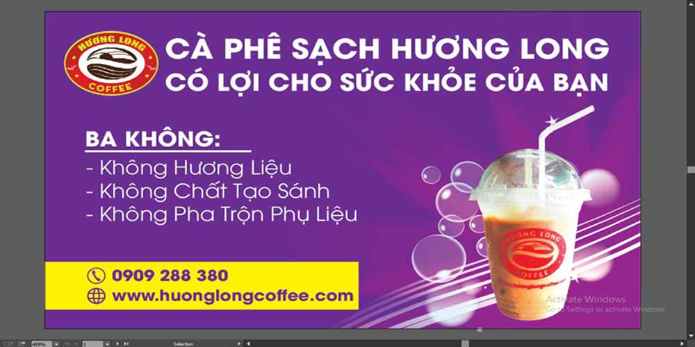 card cà phê sạch Hương Long