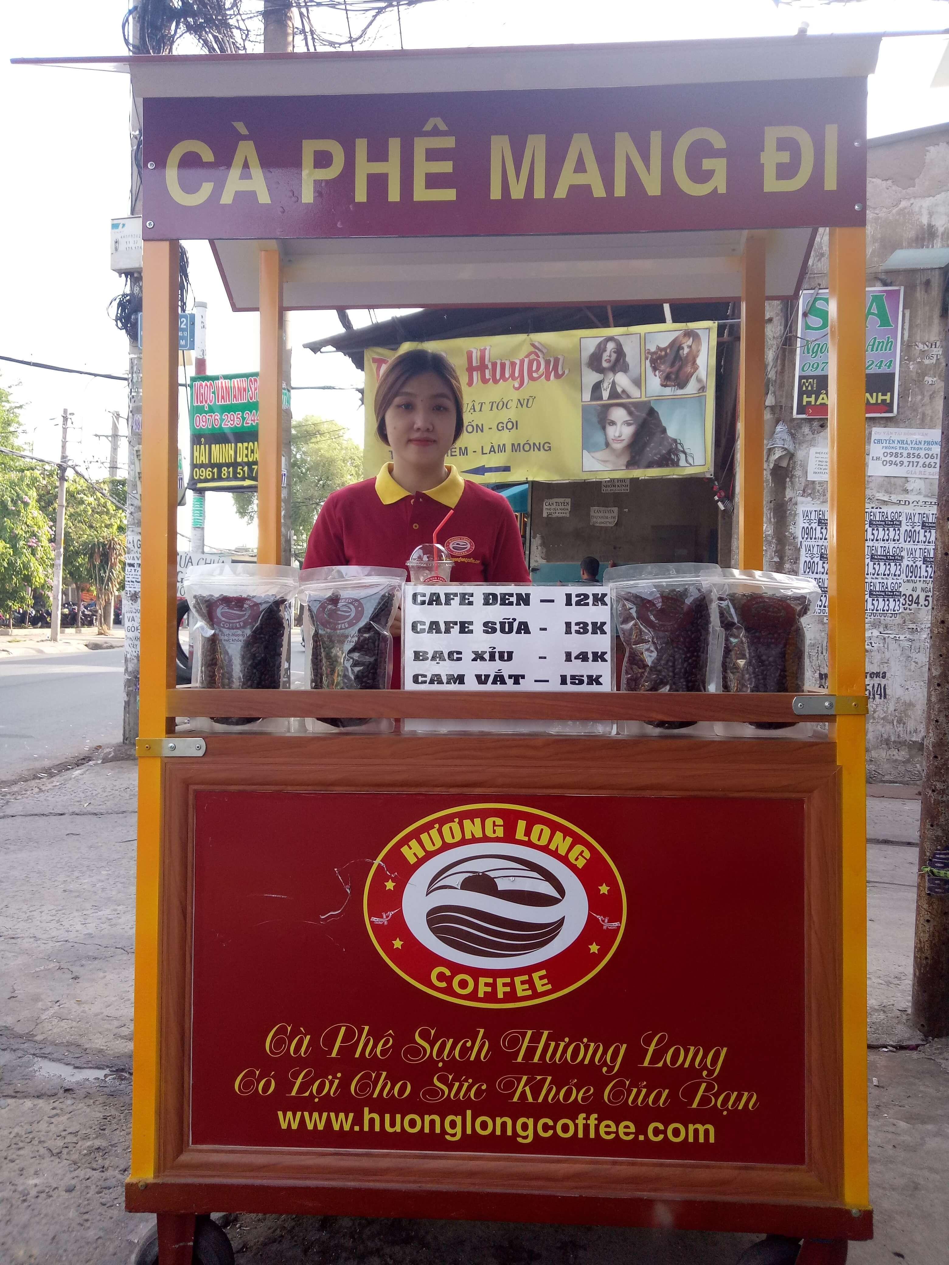 xe cà phê mang đi hương long